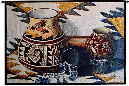 - Kokopelli Pot by Judith Durr | Woven Tapestry Wall Art Hanging | Southwestern Pattern Native American Theme | 100% Cotton USA Size 52x35