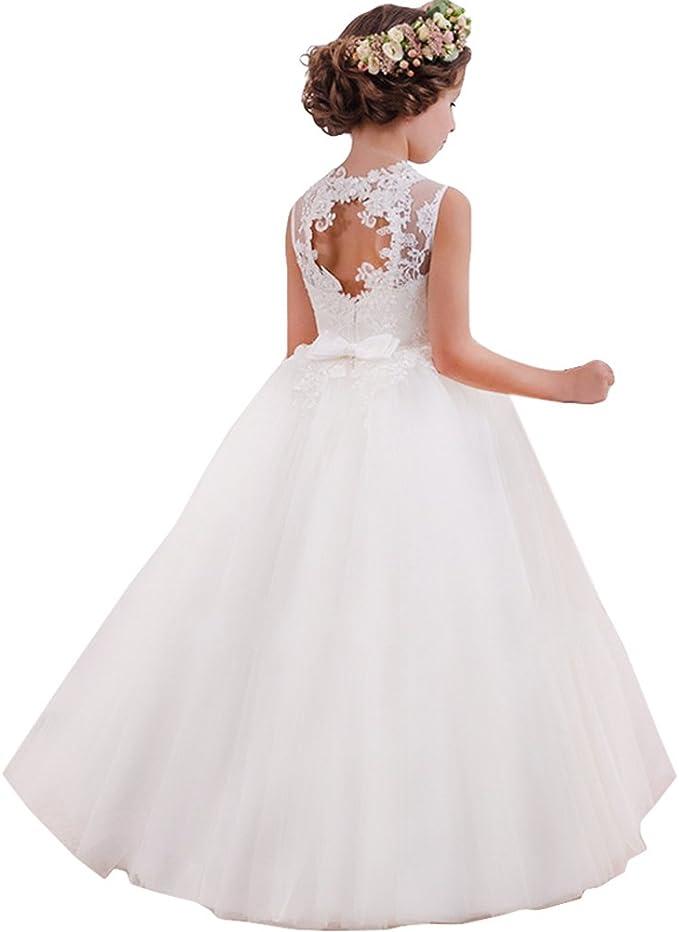 LZH Vestido de Niñas Cordón Princesa Vestidos de Novia Falda Larga ...