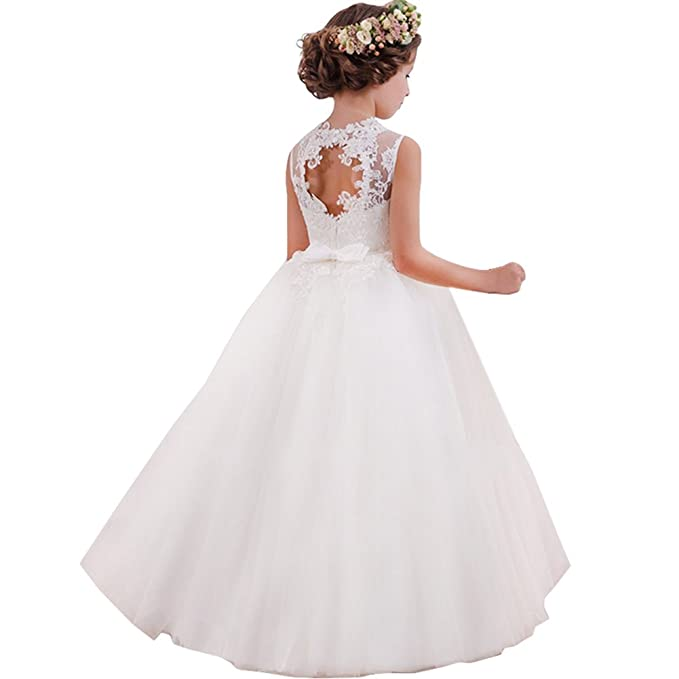 f46df78465 LZH Vestido de Niñas Cordón Blanco Princesa sin Respaldo Vestidos de Novia