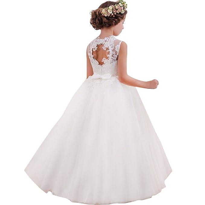 LZH Vestido de Fiesta Niñas Cordón Princesa Vestidos de Novia