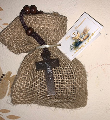 Italian Personalized Cross - Natural First Communion Favor of Wooden Rosary in a Burlap Bag with Communion Italian Tag - Set of 10