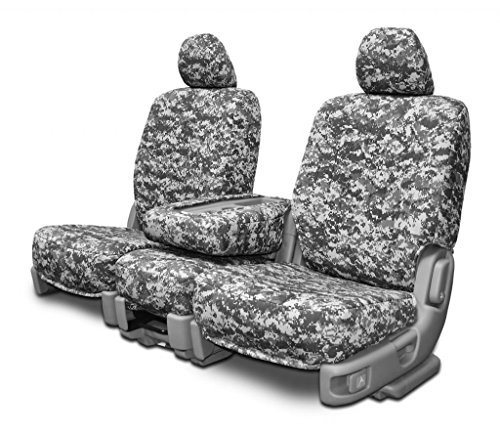 Custom Seat Covers - Toyota Tacoma Low Back - Digital Gray Camo Fabric