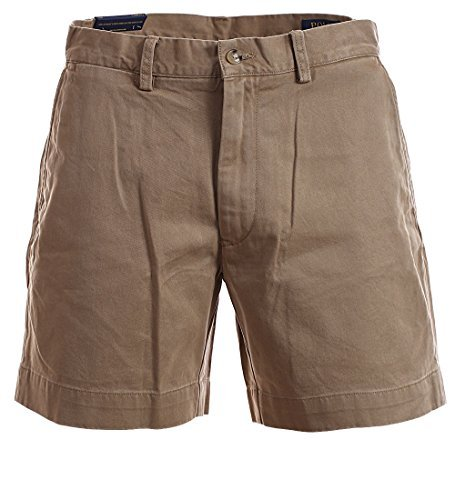Polo Ralph Lauren Mens 6 Inch Flat Front Chino Shorts (Montana Khaki, (Ralph Lauren Khaki Chino)