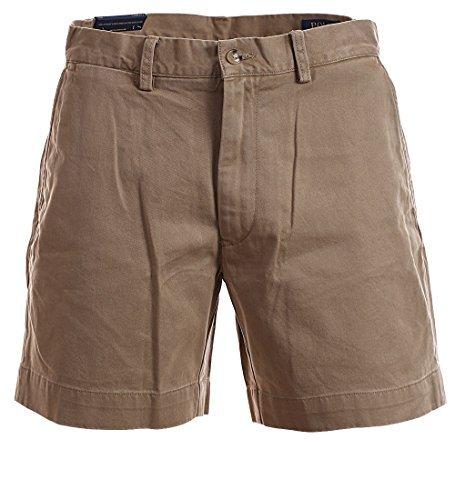 Polo Khaki Chino (Polo Ralph Lauren Mens 6 Inch Flat Front Chino Shorts (Montana Khaki, 32))