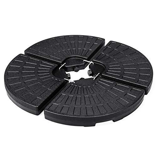 Best Choice Products 4-Piece Cantilever Offset Patio Umbrella Circular Base Stand, Fills Up to 160lbs w/Carry Handles, Easy-Fill Spouts, Base Connector Hooks, UV Stability ()