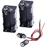 Hilitchi 2set Thicken Battery Holder for 4 x AA with Standard Snap Connector and Hard Plastic Housing T Type Wire