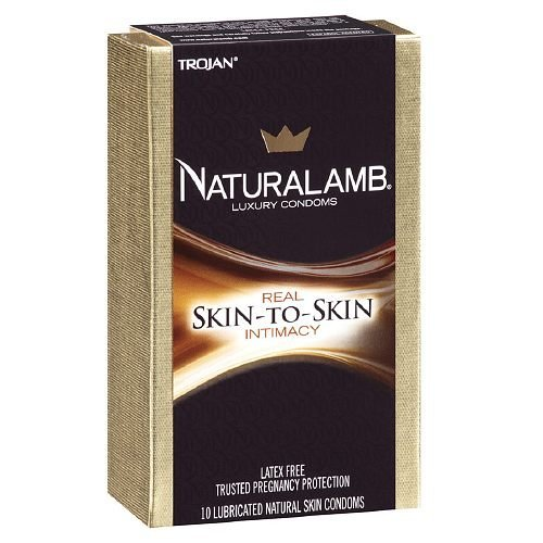 Trojan NaturaLamb Luxury Lubricated Latex FreevNatural Skin Condoms 10 Ea
