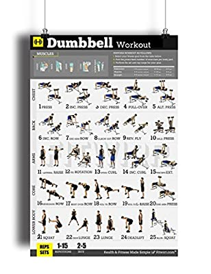 "Fitwirr Men's Dumbbell Workout Exercise Poster ""18X24"" Home Gym - Dumbbell Workouts - Dumbbell Exercises - Build Muscles - Fitness Posters - Workout Poster - Workout Routines - Bodybuilding"
