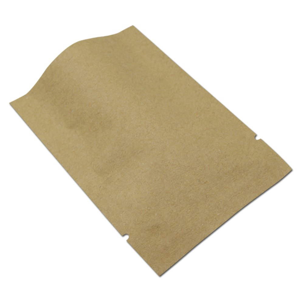 14x20cm (5.5''x7.8'') Open Top Aluminum Foil Kraft Paper Bag Heat Seal Vacuum Tear Notch Mylar Foil Food Package Pouch Coffee Tea Food Packaging Bags (500)