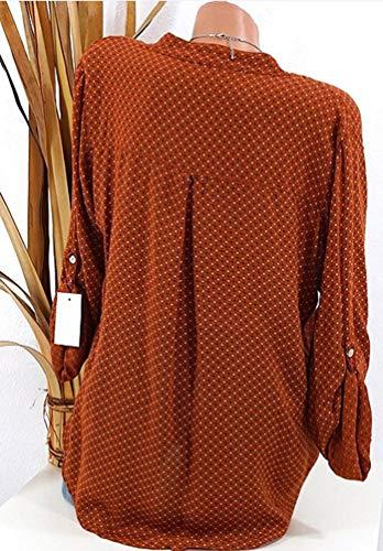 Casual Plus Chemisier Blouse Col V Size Mode Top Xinwcang Manche Longue Hauts Femme Chemise Orange Elegant gOxYaHq