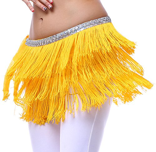 Hip Scarfs for Women with Fringes for Belly Dance Yellow L ()