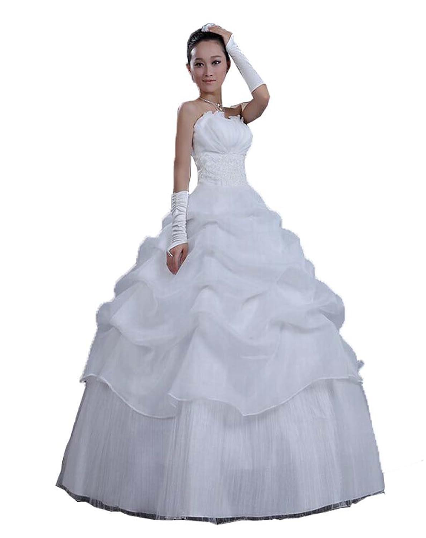 New 2014 Weiß Sexy Schulterfrei Rückenfrei Blumen Braut süße Prinzessin Schlank Hochzeitskleid