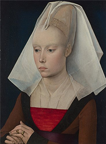 polyster Canvas ,the Imitations Art DecorativePrints on Canvas of oil painting 'Workshop of Rogier van der Weyden Portrait of a Lady ', 8 x 11 inch / 20 x 28 -