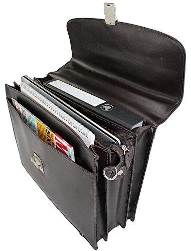 LEDER - 17 Zoll Aktentasche, Lehrertasche, Dokumententasche, Bürotasche, Schultasche, Arbeitstasche, Umhängetasche, Schultertasche