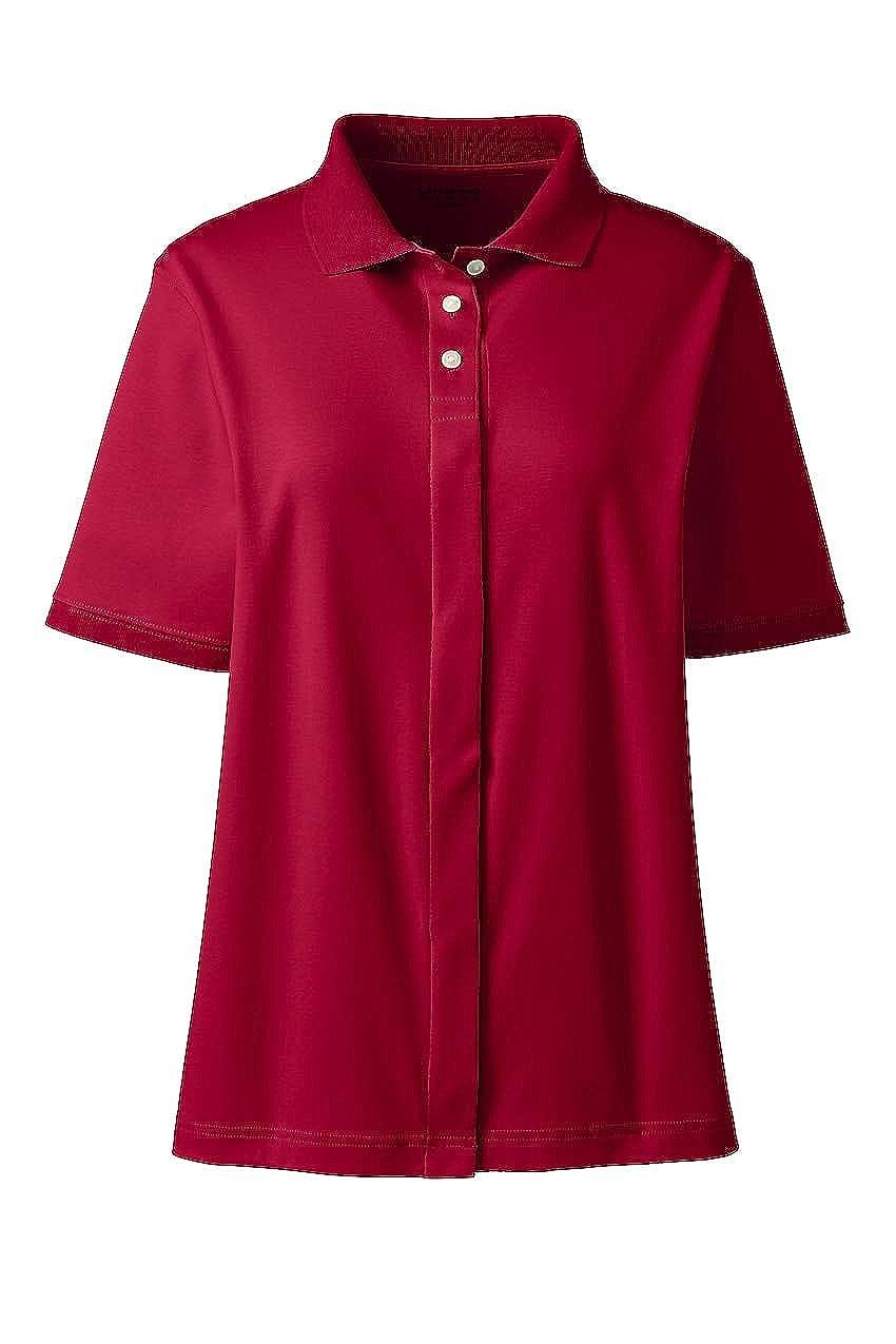 Lands' End School Uniform Women's Adaptive Short Sleeve Interlock Polo Shirt