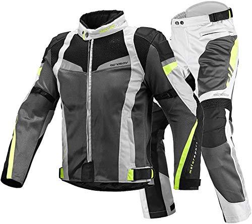 XIAOWANG Motorradkombi Motorradanzug Jacke Hosen 2-Teilig Atmungsaktiv Verschleißfest Anzug CE-Rüstung Für Männer…