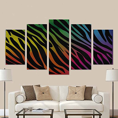 InterestPrint Rainbow Zebra Wall Art Canvas Painting 5 Pieces Prints Wall Decor Art (No Frame)