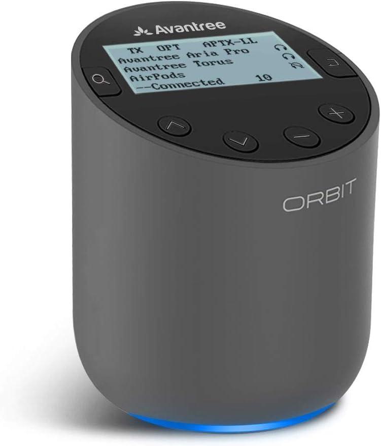 Avantree Orbit New Bluetooth 5.0 Audio TV Wireless Transmitter w/LCD Display, Dual Antenna Long Range, Netflix Prime Ready, Supports aptX Low Latency, 2 Headphones, Soundbar PassThrough, for All TVs