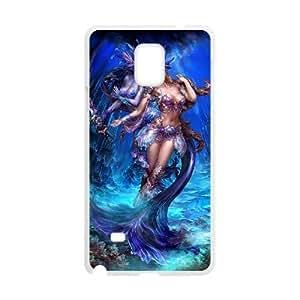 Diy Beautiful Mermaid Phone Case for samsung galaxy note 4 White Shell Phone JFLIFE(TM) [Pattern-3]