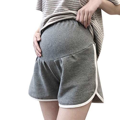 RIUDA Maternity Women's Sports Maternity Shorts Underbelly Wide Elastic Band High Waist Pants for Women Gray
