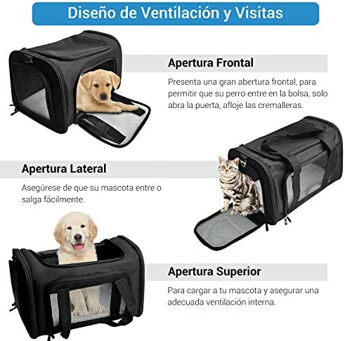 Bolso de Viaje del Mascotas L Bolsa Plegable para Viaje de Tren Transportin para Perros Bolso Gato de Coche NICREW Bolsa de Transporte Perros Gatos