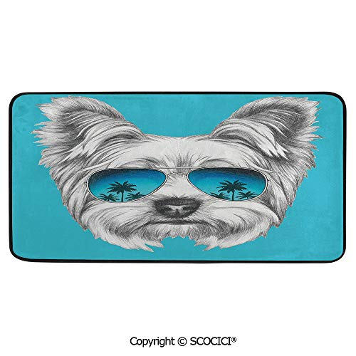 (Rectangle Rugs for Bedside Fall Safety, Picnic, Art Project, Play Time, Crafts, Large Protective Mat, Thick Carpet,Yorkie,Yorkshire Terrier Portrait with Cool Mirror Sunglasses Hand,39