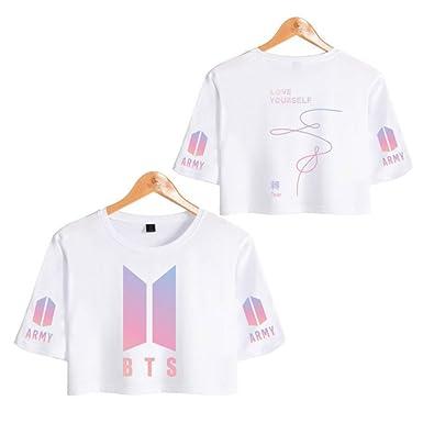 Mujer BTS Camiseta Love Yourself Tear Crop Top BTS Estampado Top Manga Corta Blusa Suga Jin Jimin Jung Kook J-Jope: Amazon.es: Ropa y accesorios