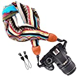 #10: Wolven Soft Scarf DSL/SLR Camera Neck Shoulder Strap Belt for Nikon,Canon,Sony,Samsung,Pentax,Olympus,Leica,Fujifilm Instax Etc, Pattern 01