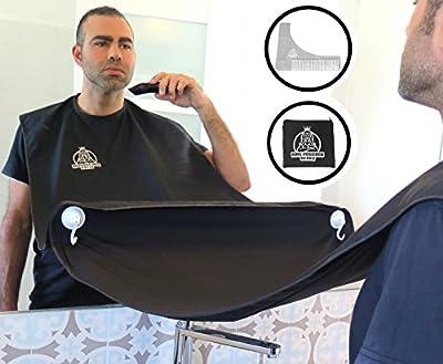 KING POSEIDON Beard Shaving Bib Apron Beard Catcher With Beard Shaping Tool Comb, Hair Clippings Cape For Shaving, Premium Grooming Kit For Men, Black