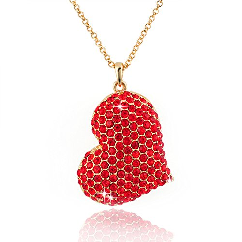 Glass Red Necklace Heart (Big Love Red Heart Valentine's Day Pendant Necklace Charm Rhinestones Ladies Women Fashion Jewelry,NGG274-1)
