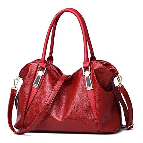 Women Ladies Hobos Bag Shoulder Burgundy Bag Handbag Totes Office Leather Ladies Handbags PU Bags Female Portable PPrqF