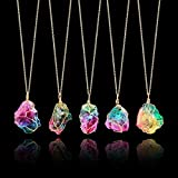 FirstFly 1PC Rainbow Stone Pendant Necklace, Irregular Quartz Stone Pendant Crystal Gemstone Necklace Clothes Chain Necklace for Women
