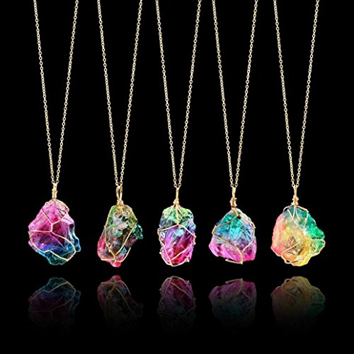 FirstFly Rainbow Stone Pendant Necklace, Irregular Quartz Stone Pendant Crystal Gemstone Necklace Clothes Chain Necklace for Women (Rainbow Stone)