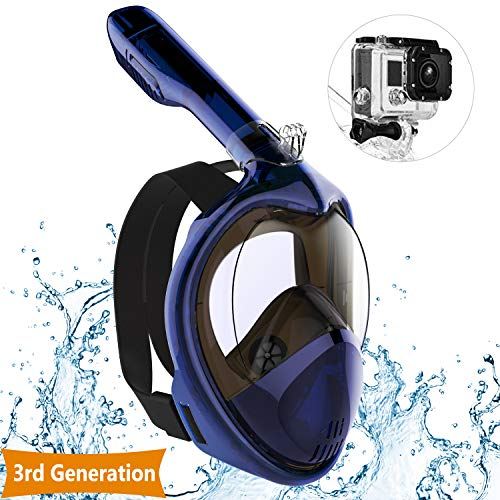 IOO Snorkel Mask Full Face for Adult Youth and Kids 180 Degree Panoramic View Anti-Fog & Anti-Leak GoPro Compatible Snorkeling Set Navy Blue L/XL