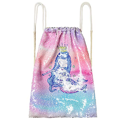 Drawstring Backpack Flip Sequin Mermaid Small Bag Girls Kid Magic (Small Sequin)