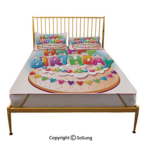 Birthday Decorations for Kids Creative Queen Size Summer Cool Mat,Cartoon Happy Birthday Party Image Cake Candles Hearts Print Sleeping & Play Cool Mat,Multicolor ()