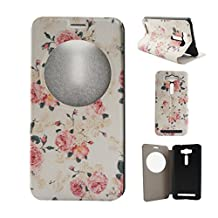 "Zenfone 2 Laser (ZE500KL) Case, Asus Zenfone 2 Laser (ZE500KL) Case, SATURCASE PU Leather Flip View Window Stand PC Case Cover for Asus Zenfone 2 Laser ZE500KL 5.0"" Pretty Flower"