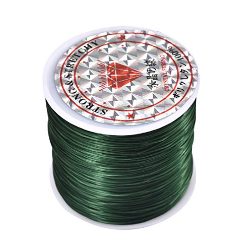 1 Roll 60M Crystal Stretch Elastic Craft Bracelet Beads Thread String Cords for DIY Jewelry Making 0.3mm×1mm×60m Blackish Green