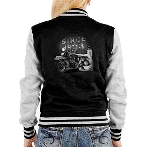 Biker College-Jacke für Damen - Since 1903 mit Bike und geilem Girlie - Outfit Geschenk-Idee mit Motorrad Motiv - Grau
