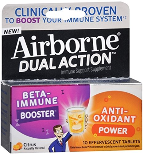 - Airborne Dual Action Effervescent Tablets, Citrus 10 ea (Pack of 2)