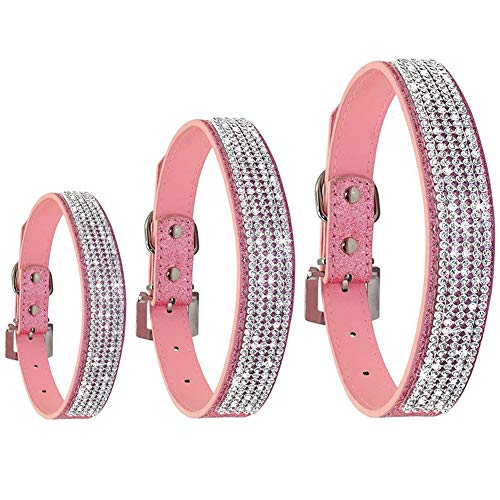 (PU Leather Dog Collars for Large Dogs Adjustable Pet Dog Collar Bling with Rhinestone Female Dog Collar Personalized, Pink)