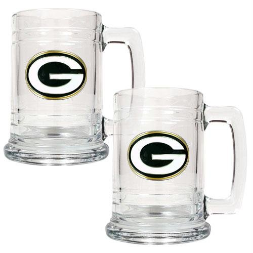 (NFL Green Bay Packers Two Piece 15-Ounce Glass Tankard Set - Primary Logo)