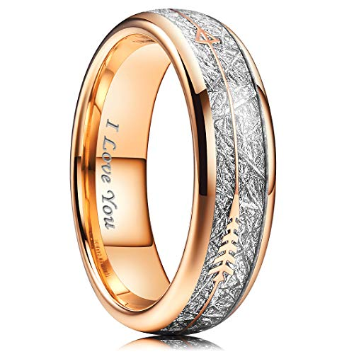 NaNa Chic Jewelry 6mm Rose Gold Women Tungsten Carbide Highly Polished Ring Inlay with Meteorite Stickers and Arrows Beveled Edge ()