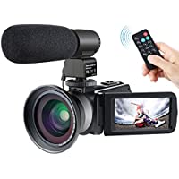 Camera Camcorder,Besteker 1080P IR Night Vision Camcorders Full HD Portable Digital Video Camera with External Microphone and Wide Angle Lens