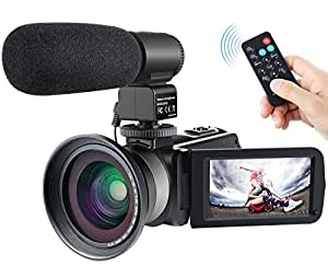 Camera Camcorder,Besteker 1080P IR Night Vision Camcorders Full HD Portable Digital Video Camera with External Microphone and Wide Angle Lens (Blue)