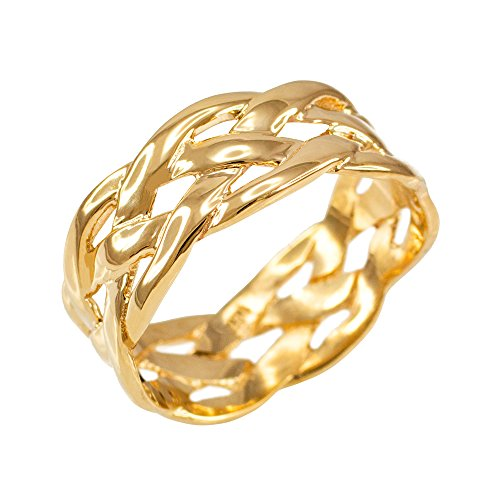 Celtic Weave Wedding Band in Polished 10k Yellow Gold (Size 7)
