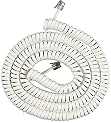 Power Gear Telephone Coil Cord, 25 Feet, White, 76122