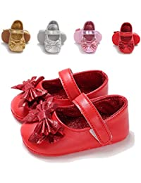 Infant Baby Girls Mary Jane Flats Non-Slip Soft Soled Toddler First Walkers Crib Shoes
