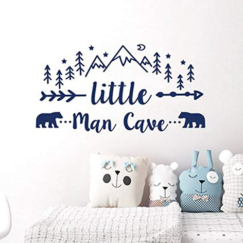 Ksiae Decor Stickers Walls Art Words Sayings Removable Lettering Little Man Cave Quote Words Nursery Boys Room Stickers Nursery Decor for Kids -