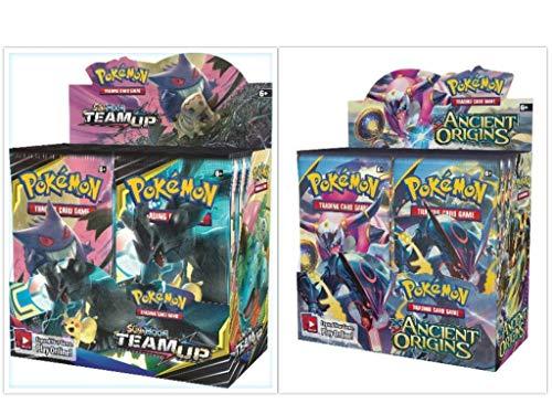 Origins Booster - Pokémon TCG Sun & Moon Team Up Booster Box + XY Ancient Origins Booster Box Pokémon Trading Cards Game Bundle, 1 of Each.